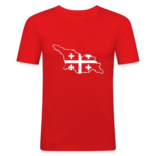 Landkarte mit Flagge - Männer Slim Fit T-Shirt