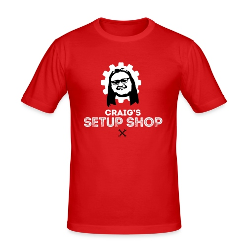 Craigs Setup Shop on Red - Men's Slim Fit T-Shirt