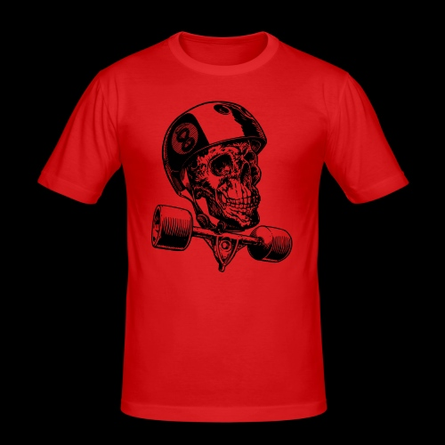 Skull Longboard Rider - positive print - T-shirt près du corps Homme