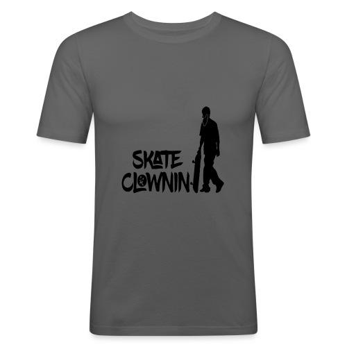 Skateclowninallblackno bg gif - Men's Slim Fit T-Shirt