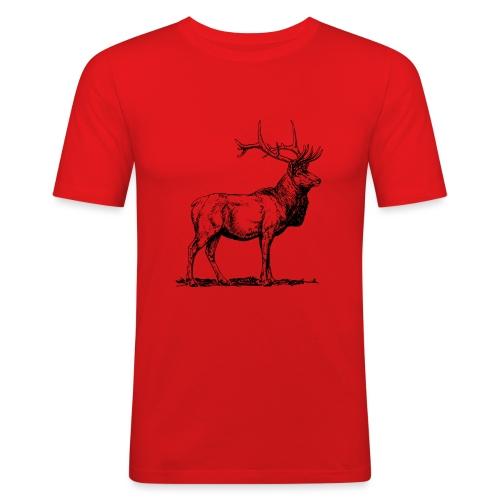 Silueta ciervo real transparente - Camiseta ajustada hombre