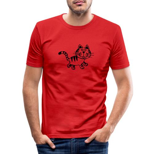 Friendly Cat - Männer Slim Fit T-Shirt