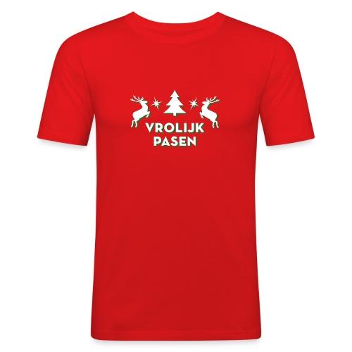 Vrolijk Pasen - Mannen slim fit T-shirt