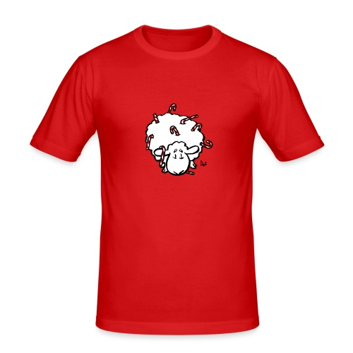 Candy Cane Sheep - Men's Slim Fit T-Shirt