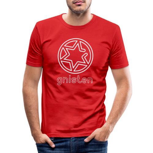 Gniste Ry (hvidt tryk - vertikalt) - Herre Slim Fit T-Shirt