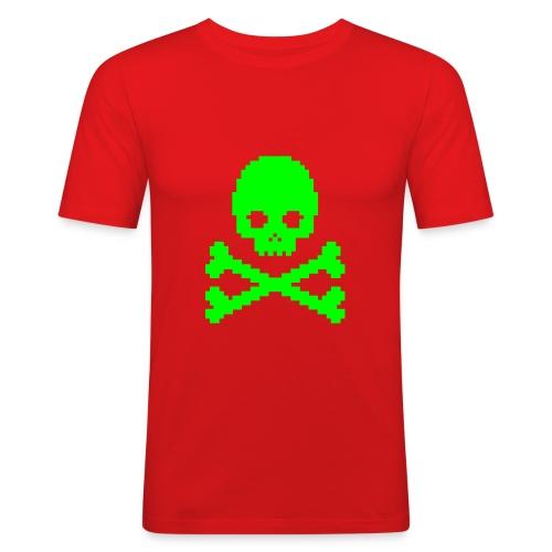 PIXEL SKULL 2 - Herre Slim Fit T-Shirt