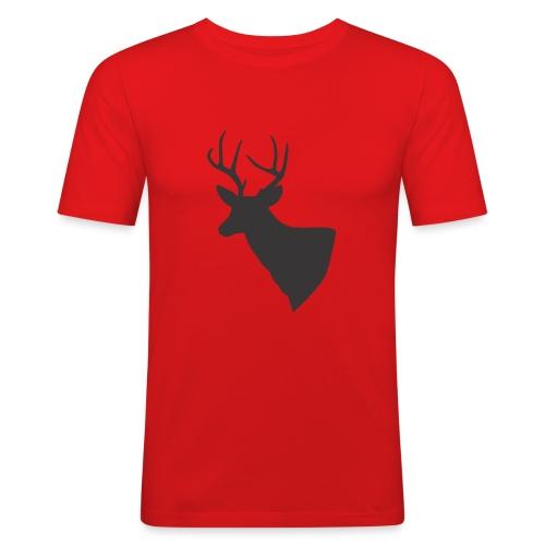 Silueta trofeo ciervo en negro. - Camiseta ajustada hombre