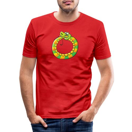 Crazy Snake Biting its own Tail - Men's Slim Fit T-Shirt