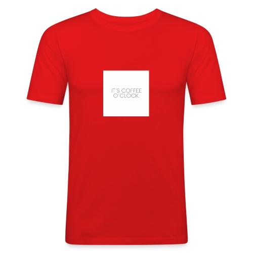 zwarte mok met tekst - Mannen slim fit T-shirt