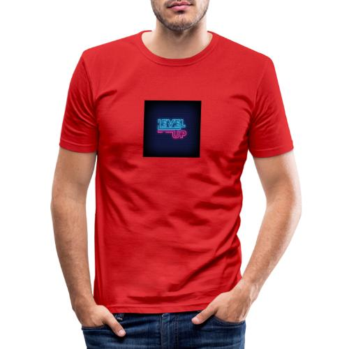 level up neon signboard 118419 1291 - Herre Slim Fit T-Shirt