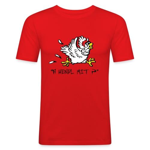 a hendl mit leiwö sz schrift 09 png - Männer Slim Fit T-Shirt