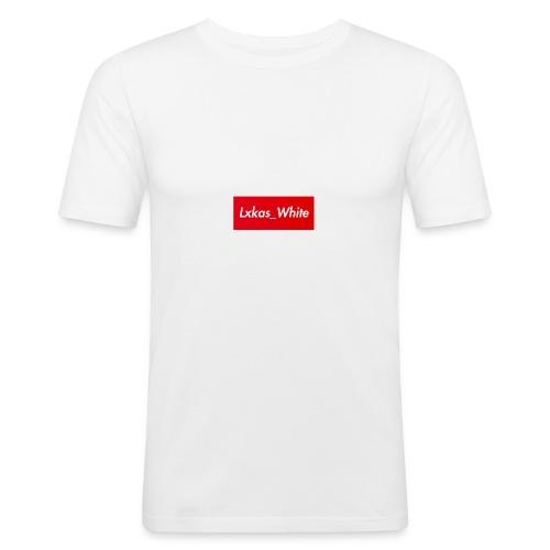 Lxkas_white boxlogo - Männer Slim Fit T-Shirt