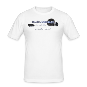 Radio PARALAX Facebook-Logo mit Webadresse - Männer Slim Fit T-Shirt