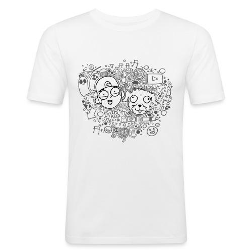 ROCKY EN KEES ZWART-WIT - Men's Slim Fit T-Shirt