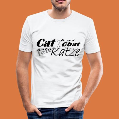 Katze in verschiedenen Sprachen - Männer Slim Fit T-Shirt