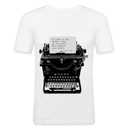 Oscar Wilde Quote on Old Remington 10 Typewriter - Men's Slim Fit T-Shirt