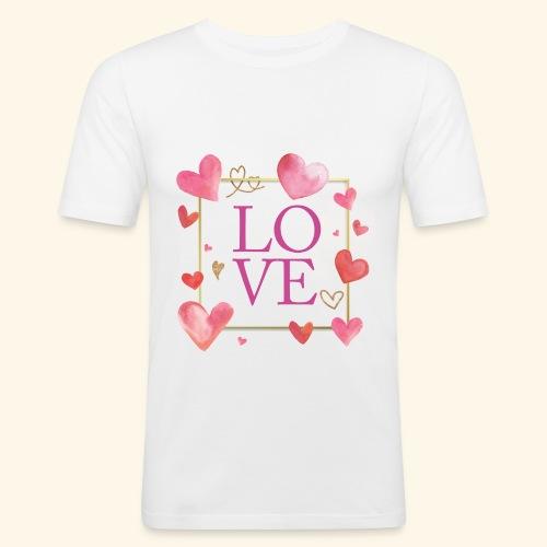 LOVE E HEARTS - Maglietta aderente da uomo