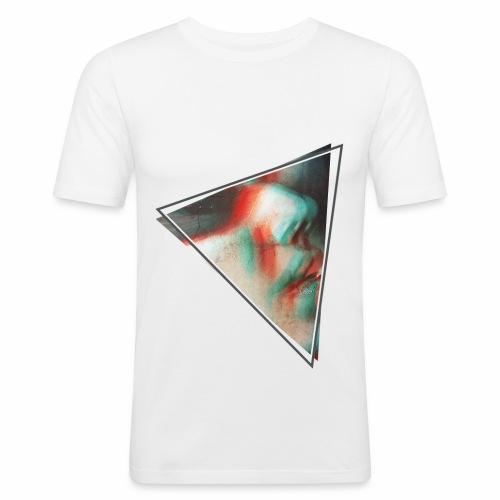 3D triangolo faccia - Maglietta aderente da uomo