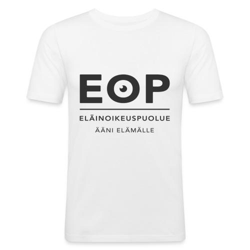 EOP Logo slogan musta - Miesten tyköistuva t-paita