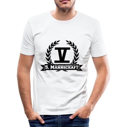 V mit College-Schriftzug - Schwarz - Männer Slim Fit T-Shirt