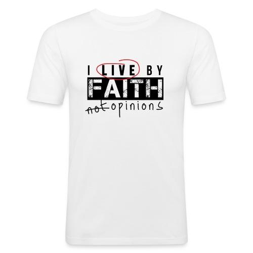 Live by Faith-White - Men's Slim Fit T-Shirt