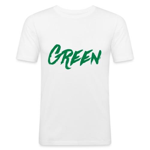 green-scritta-verde - Maglietta aderente da uomo