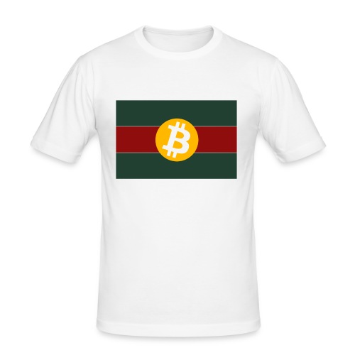 Bitcoin Logo Greed Red Flag - Männer Slim Fit T-Shirt