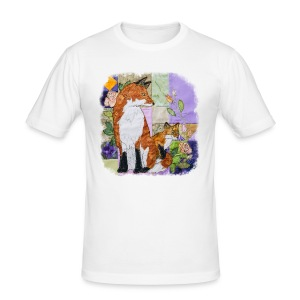 Fox and Cub Design - Men's Slim Fit T-Shirt