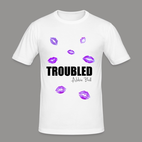 TROUBLED KISSES - White T-shirt - Men's Slim Fit T-Shirt