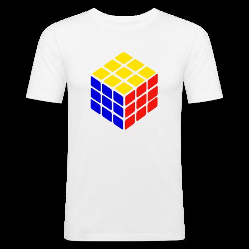 blue yellow red rubik's cube print - slim fit T-shirt