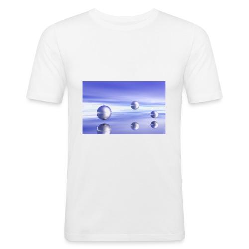 Schwebende Kugeln (3D Landschaft) - Männer Slim Fit T-Shirt