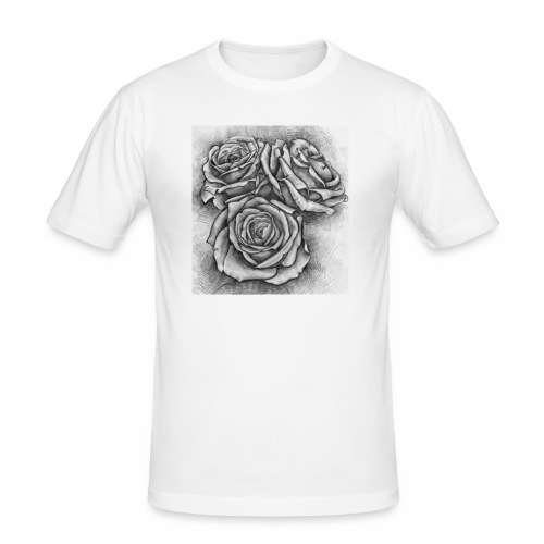 Graue Rosen ~ Print - Männer Slim Fit T-Shirt