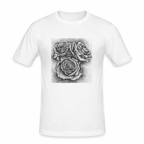 Graue Rosen ~ Print - Männer Slim Fit T-Shirt