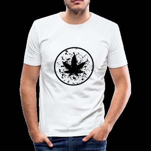 Cannabisblatt Farbklecks im Kreis - Männer Slim Fit T-Shirt