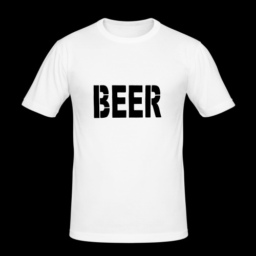 BEER Stencil Black - Männer Slim Fit T-Shirt