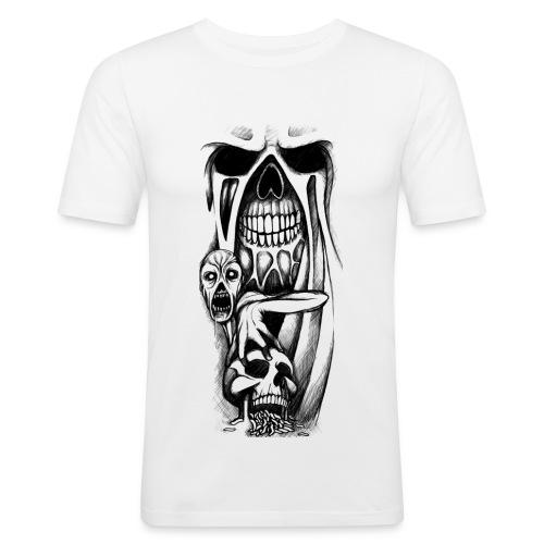 grey ink evil zombie tattoo designs - Obcisła koszulka męska