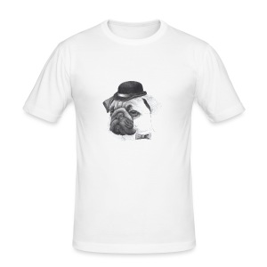 pug with bowler - Herre Slim Fit T-Shirt