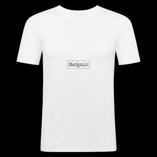 Harlem Co logo White and Black - Men's Slim Fit T-Shirt