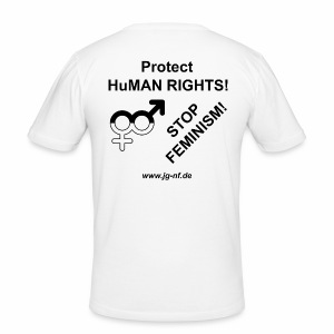 Protect HuMAN Rights - Stop Feminism - Männer Slim Fit T-Shirt
