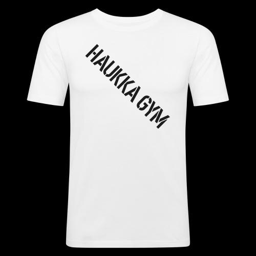 HAUKKA GYM text - Miesten tyköistuva t-paita