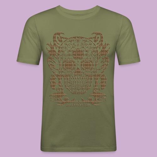 SKULL FLOWERS LEO - Männer Slim Fit T-Shirt