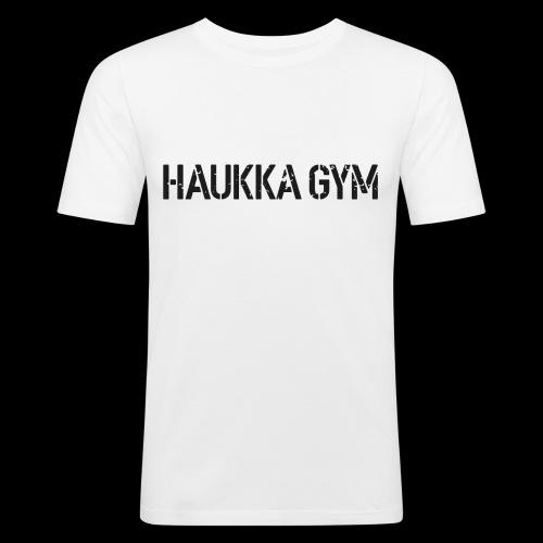 HAUKKA GYM roso text - Miesten tyköistuva t-paita