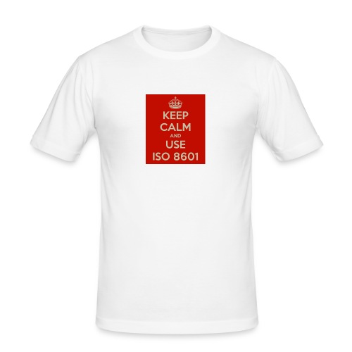keep calm and use iso 8601 - Slim Fit T-skjorte for menn