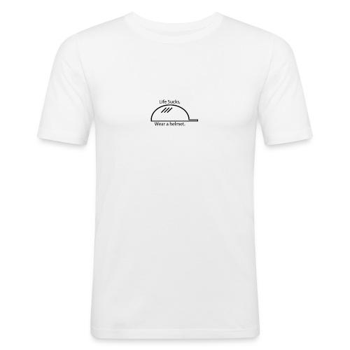 Life Sucks, Wear a helmet. - Men's Slim Fit T-Shirt