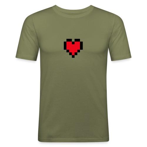 Pixel Heart - Mannen slim fit T-shirt