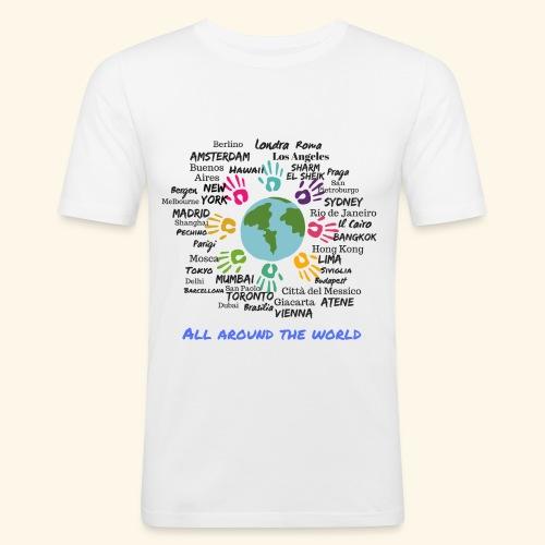 All around the world uomo - Maglietta aderente da uomo