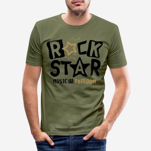 rock star music freedom - Männer Slim Fit T-Shirt