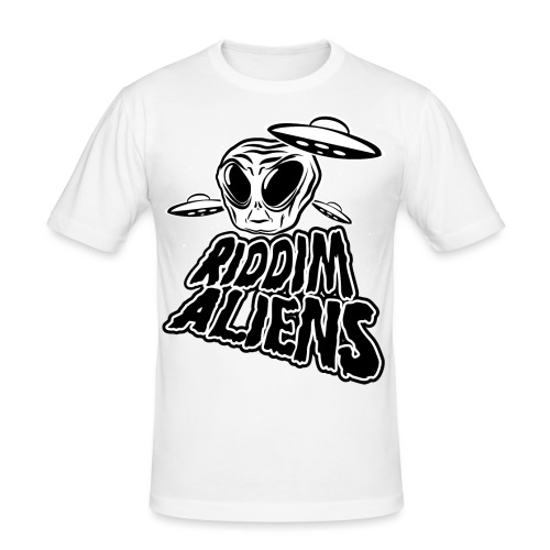 Riddim Aliens (Black Design) - Men's Slim Fit T-Shirt