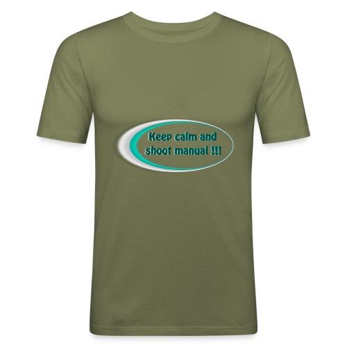 Keep calm and shoot manual slogan - Men's Slim Fit T-Shirt