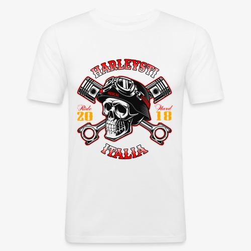 Harleysti Italia - Teschio e pistoni - Ride Hard - Maglietta aderente da uomo